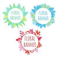 Set of vector botanical hand drawn banner templates
