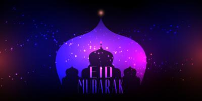 Eid Mubarak background with mosque silhouette on bokeh lights design