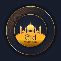 Sfondo di Eid Mubarak con silhouette moschea