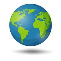 Earth Globe geïsoleerd op een witte achtergrond.