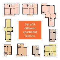 Conjunto de 9 diferentes layouts de apartamentos