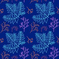 Botanical hand drawn pattern vector
