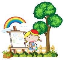 Niño pintando en un hermoso día vector