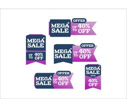Exclusive colorful mega sale advertising shopping ribbons