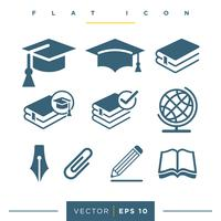 Education Set Icon Logo Template Illustration Design. Vecteur EPS 10.