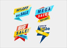 Colorful mega sale shopping ribbons vector collection