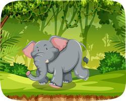Elefante en escena de maderas