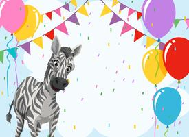 Zebra en plantilla de fiesta