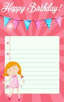 Birthday girl on note template