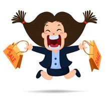Personnage de dessin animé super vente. Les femmes qui travaillent sont heureuses d'acheter des produits à prix bon marché.