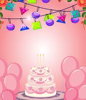 Cake on pink birthday card