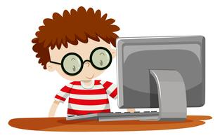 A boy using computer vector