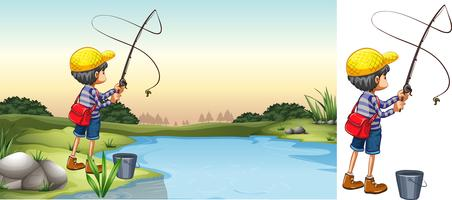 Scène van visser in de rivier