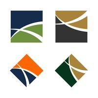 Abstrakt Swoosh Line i Kvadratisk Logo Mall för Finans