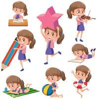 Set di ragazze che fanno attività