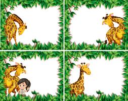 Set of giraffe in nature frame