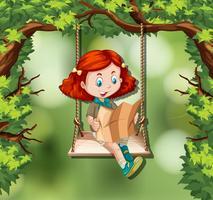 Una ragazza che legge la mappa nella giungla