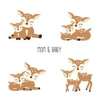Cute Cartoon Deer family. Mother and baby.