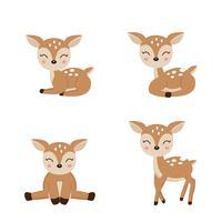 Cute deer cartoon in different poses.