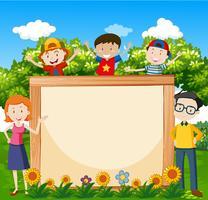 Família, com, bandeira, em, a, jardim