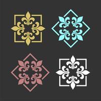 conjunto de flor de lírio heráldico modelo de logotipo de flor de lis ornamentais