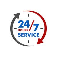 24 7 Service Signage Template Illustration Design. Vektor EPS 10.