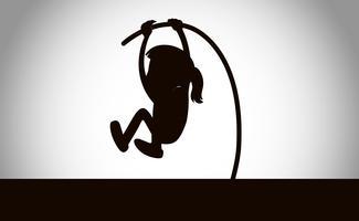 silhueta de uma menina de salto com vara