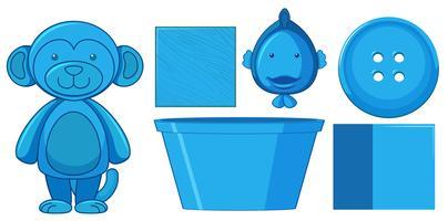 Set med blå leksaker