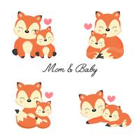 Set of little fox and mother.  Woodland animal cartoon.