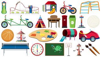 Satz des Kinderspielplatzwerkzeugs