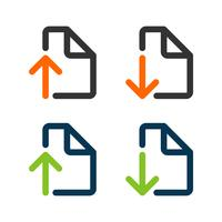set Download and Upload Document Icon Vector Template Illustration Design. Vector EPS 10.