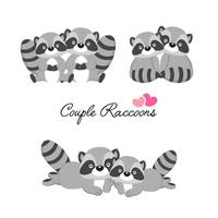 Set of couple raccoons in love for Valentine's day.