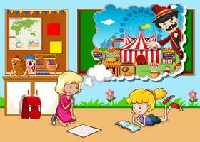 Mädchen arbeiten im Klassenzimmer