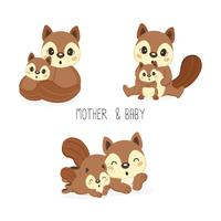 Squirrel mom and baby. Vector illustration.