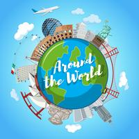 Around the world landmark scene vector