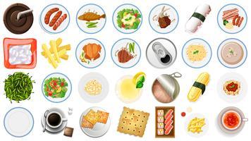 Conjunto de comida vista aérea.