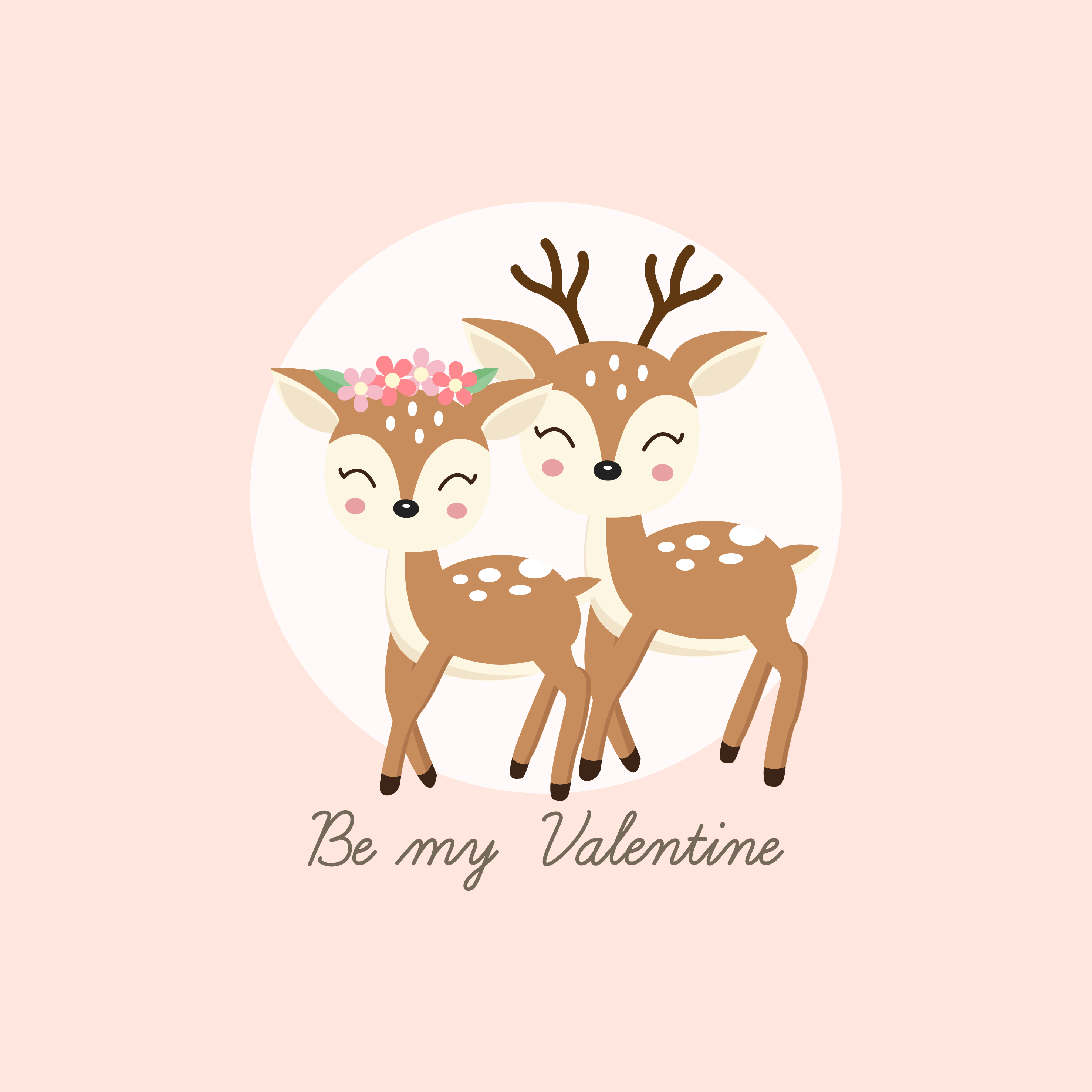 Happy Valentines Day Greeting Card Couple Deer Fall In Love Download Free Vectors Clipart Graphics Vector Art