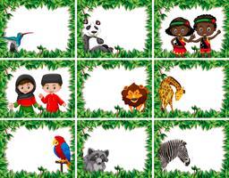 Set av djur och människor i naturen ram