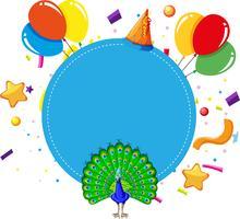 tarjeta azul de la plantilla del cumpleaños del pavo real