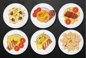 Set of different pasta dishes