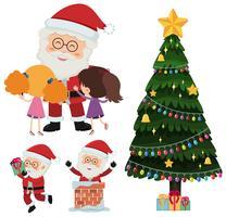 Papai Noel e crianças felizes com presentes