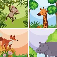 Modelo de plano de fundo com animais selvagens na floresta