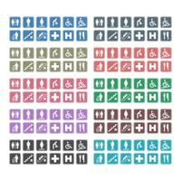 Conjunto de iconos: inodoro, para discapacitados, limpieza, escaleras mecánicas, escaleras, hospital, helipuerto, restaurante