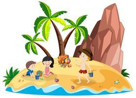 Persone sulla spiaggia dell'isola