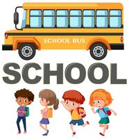 Student character with school bus