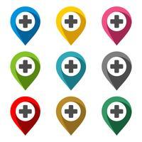 Locatie punt Vector Set - ziekenhuis afbeelding ontwerp. Vector EPS 10.