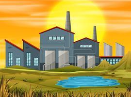 fabriek in zonsondergangscène