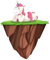 Cute pink unicorn on floating island vector