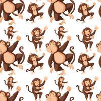 Macaco no plano de fundo padrão sem emenda