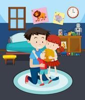 Vader en kinderen in de slaapkamer